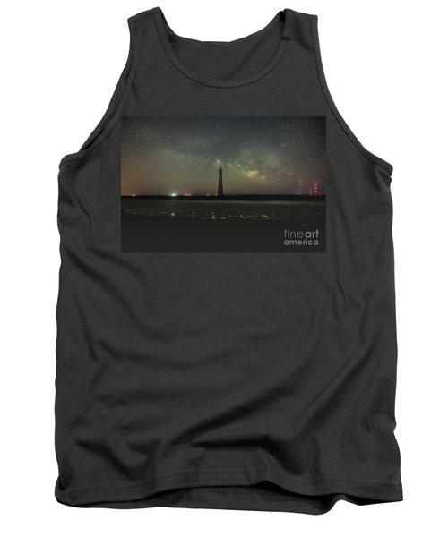 Morris Island Light House Milky Way Tank Top by Robert Loe