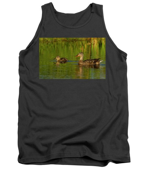 Tank Top featuring the photograph Mother And Child Mallards by Jean Noren