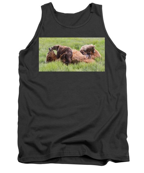 Mother Grizzly Suckling Twin Cubs Tank Top
