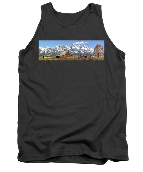 Moulton Barn Blue Sky Panorama Tank Top by Adam Jewell