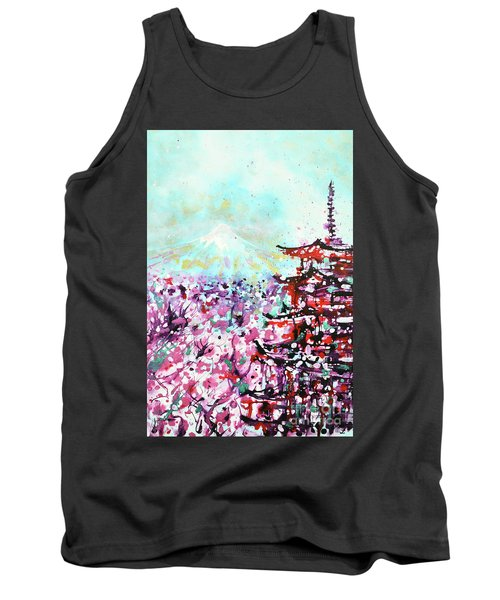 Tank Top featuring the painting Mount Fuji And The Chureito Pagoda In Spring by Zaira Dzhaubaeva