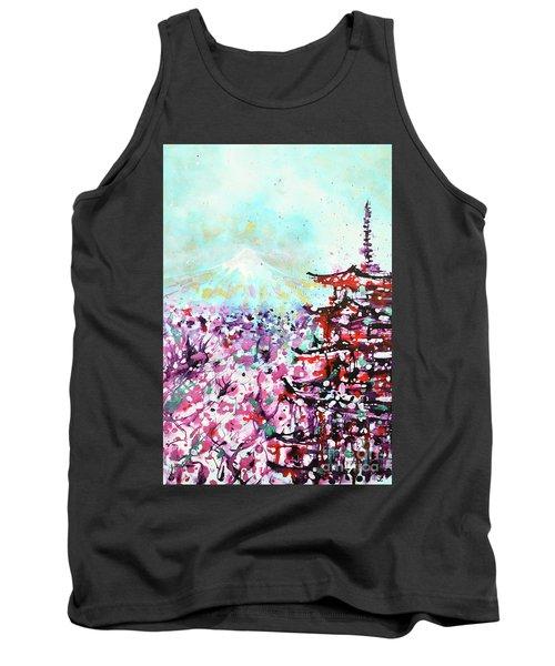 Tank Top featuring the painting Mount Fuji And The Chureito Pagoda In Spring by Zaira Dzhaubaeva