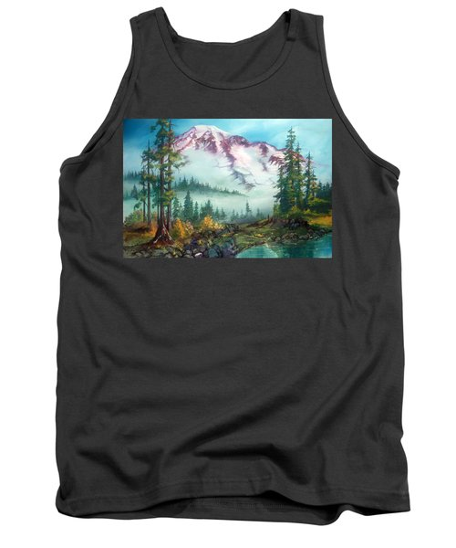 Tank Top featuring the painting Mount Rainier by Sherry Shipley