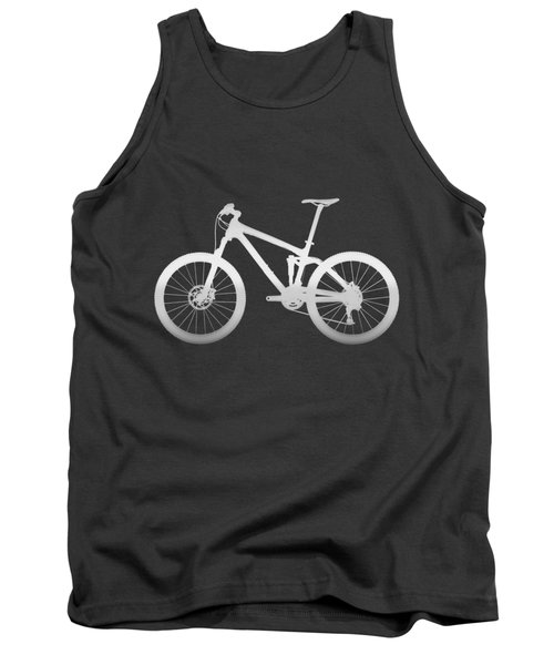 Mountain Bike Silhouette - Silver On Volcanic Rocks Gray Canvas Tank Top