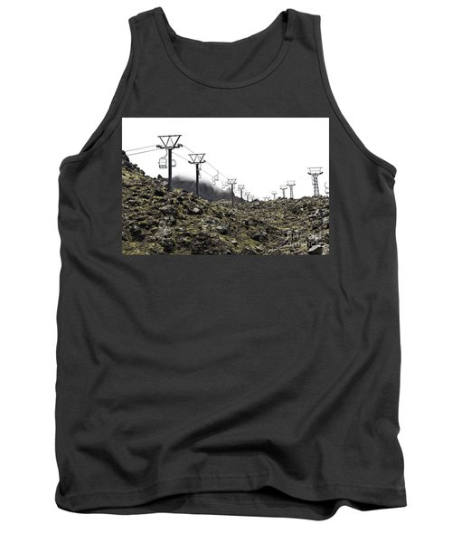 Tank Top featuring the photograph Mountain Cable Road Waiting For Snow. Mount Ruapehu. New Zealand by Yurix Sardinelly