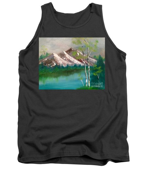 Tank Top featuring the painting Mountain Lake by Denise Tomasura