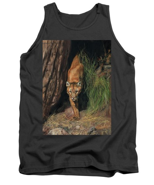 Tank Top featuring the painting Mountain Lion Emerging From Shadows by David Stribbling