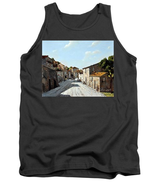 Tank Top featuring the painting Mountain Village Main Street by Rosario Piazza