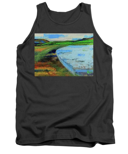 Tank Top featuring the painting Mouth Of The Creek by Walter Fahmy