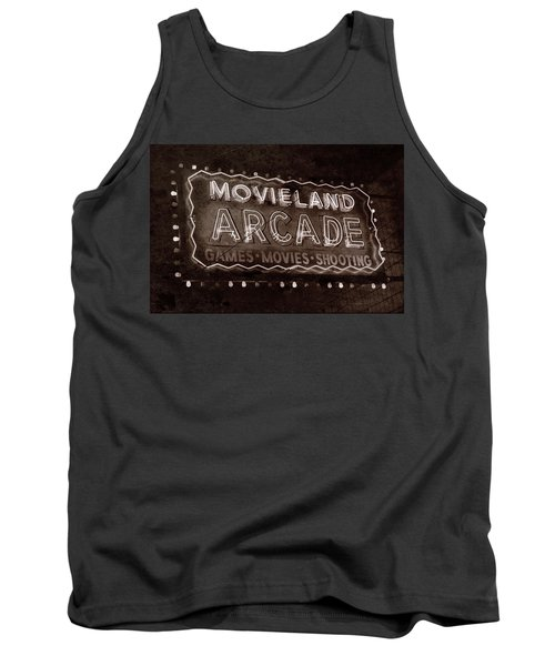 Tank Top featuring the photograph Movieland Arcade - Gritty by Stephen Stookey