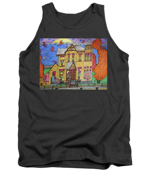 Tank Top featuring the drawing Mrs. Robert Stephenson Home. by Jonathon Hansen