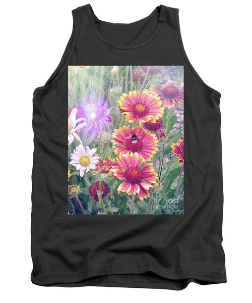 Multi Coloured Flowers With Bee Tank Top