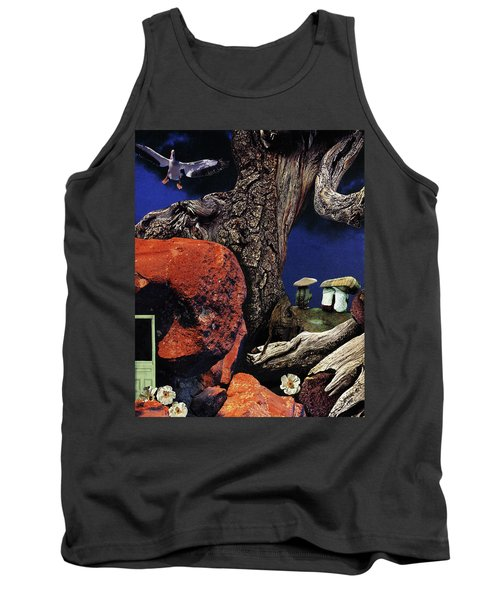 Tank Top featuring the painting Mushroom People - Collage by Linda Apple