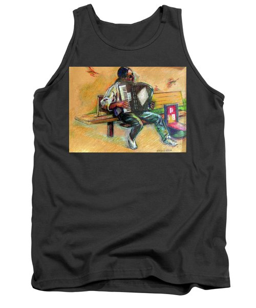 Tank Top featuring the drawing Musician With Accordion by Stan Esson