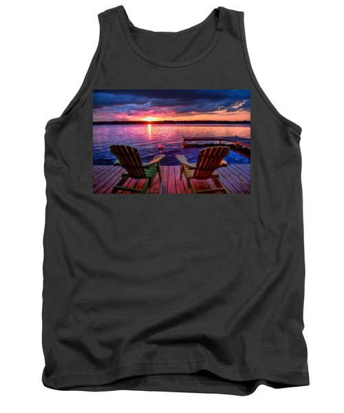 Tank Top featuring the photograph Muskoka Chair Sunset by Michaela Preston