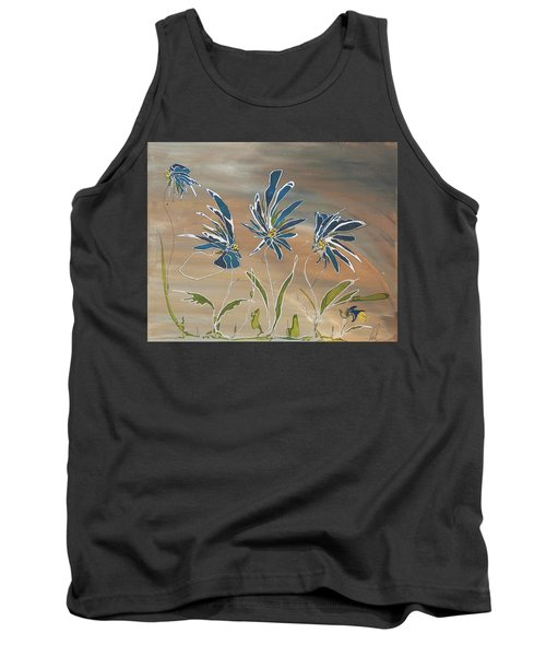Tank Top featuring the painting My Blue Garden by Pat Purdy