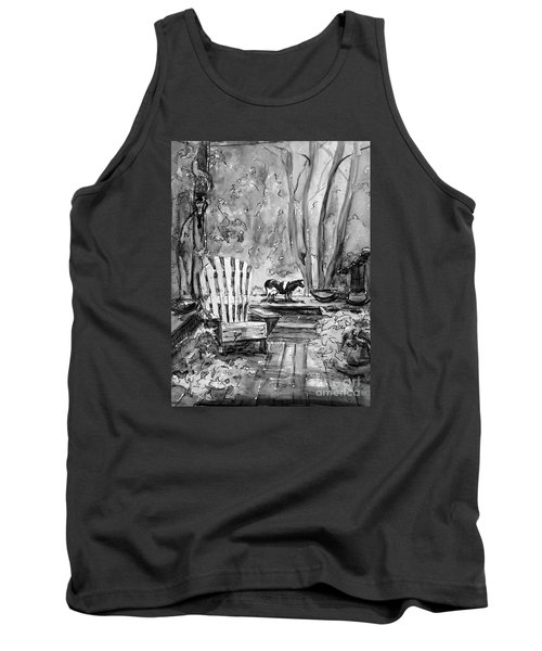 Tank Top featuring the painting My Front Deck In Bw by Gretchen Allen