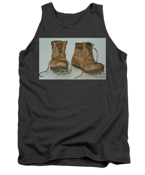 Tank Top featuring the painting My Old Hiking Boots by Annemeet Hasidi- van der Leij