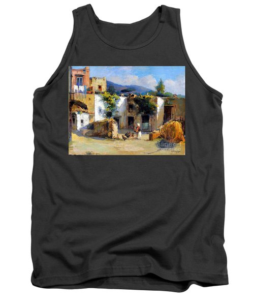 Tank Top featuring the painting My Uncle Farm House by Rosario Piazza