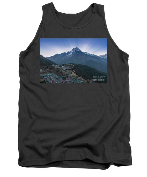 Tank Top featuring the photograph Namche And Thamserku Peak Morning Sunrays by Mike Reid