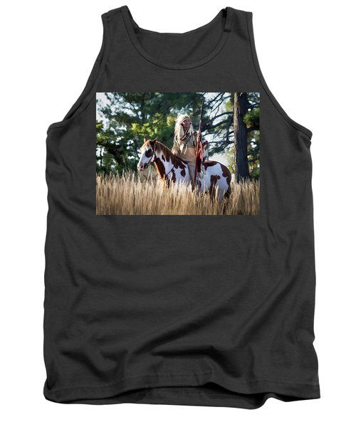 Native American In Full Headdress On A Paint Horse Tank Top