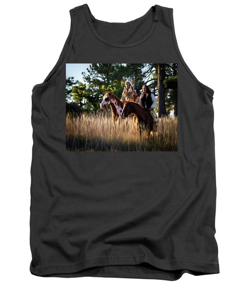 Native Americans On Horses In The Morning Light Tank Top by Nadja Rider
