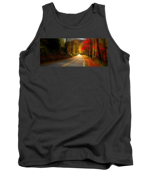 Nc Mountain Fall Drive Tank Top by Gray  Artus