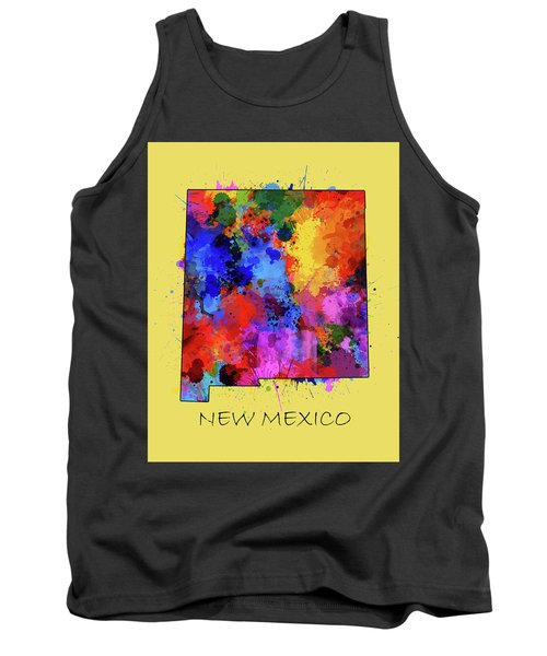 New Mexico Map Color Splatter 4 Tank Top