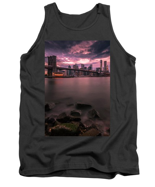 Tank Top featuring the photograph New York City Brooklyn Bridge Sunset by Ranjay Mitra
