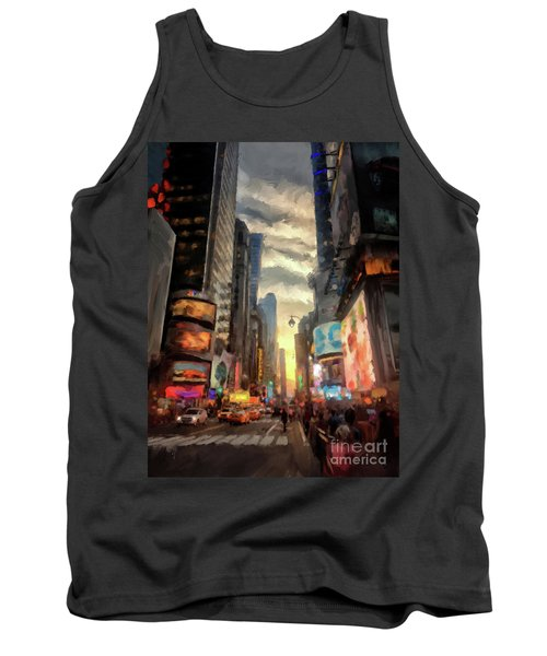 Tank Top featuring the photograph New York City Lights by Lois Bryan