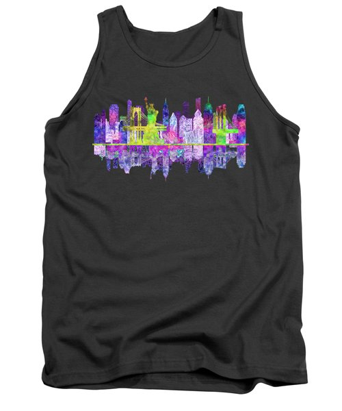 New York Skyline Glowing Tank Top by John Groves