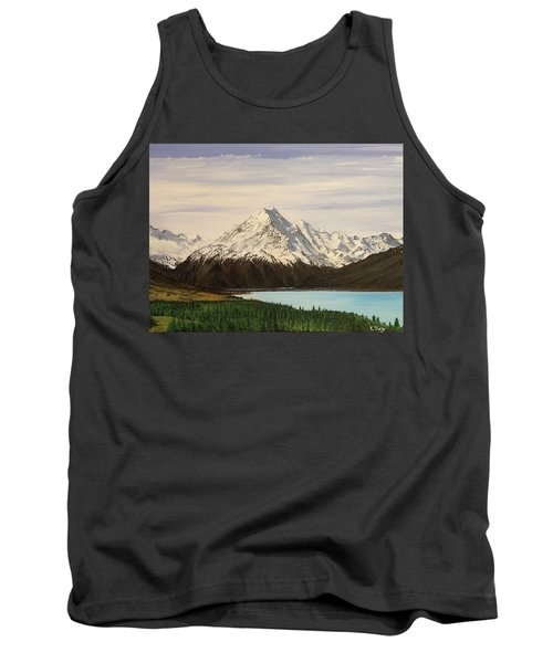 Tank Top featuring the painting New Zealand Lake by Kevin Daly