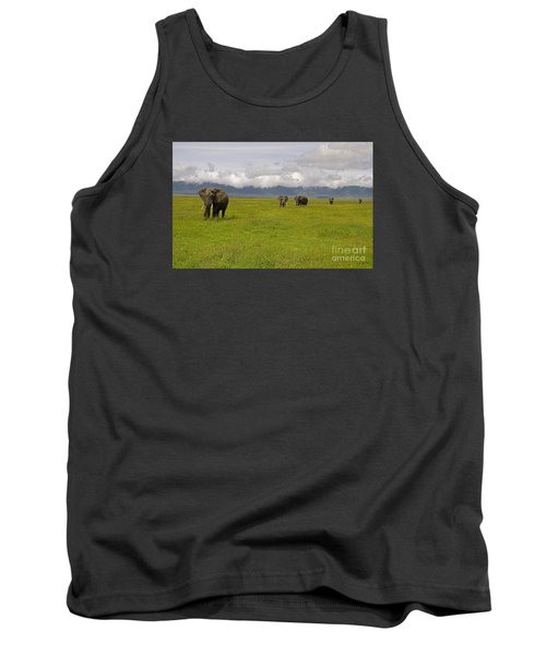Ngorongoro Elephants-signed-#0135 Tank Top by J L Woody Wooden