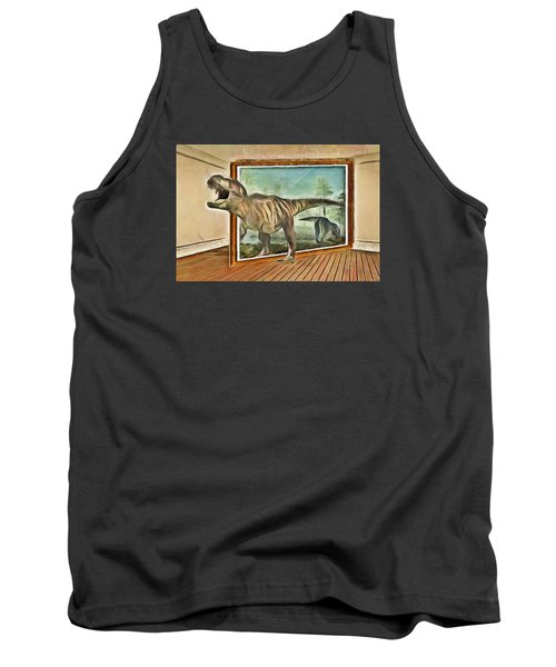 Tank Top featuring the painting Night At The Art Gallery - T Rex Escapes by Wayne Pascall