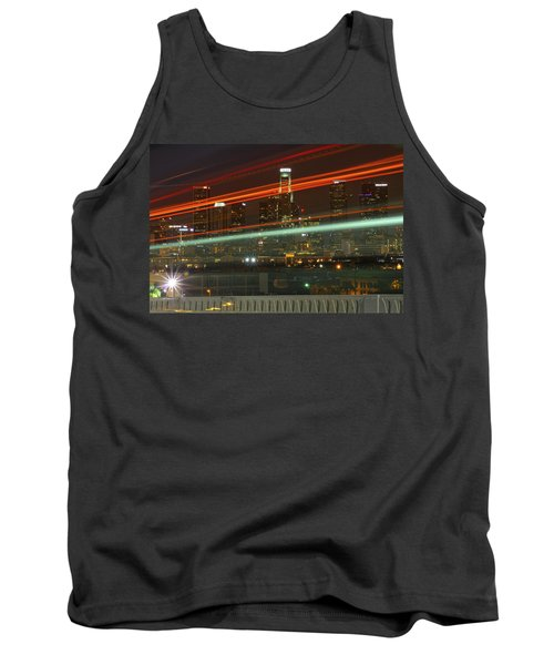 Night Shot Of Downtown Los Angeles Skyline From 6th St. Bridge Tank Top
