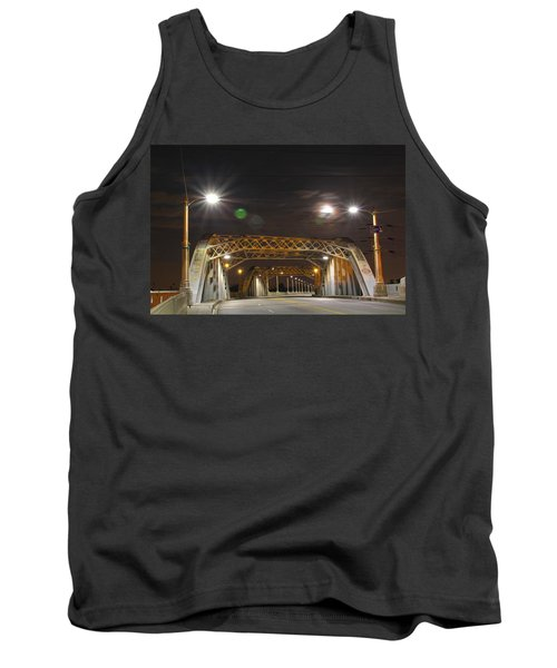 Night Shot Of The Los Angeles 6th Street Bridge And Supermoon #5 Tank Top