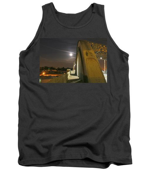 Night Shot Of The Los Angeles 6th Street Bridge And Supermoon #6 Tank Top