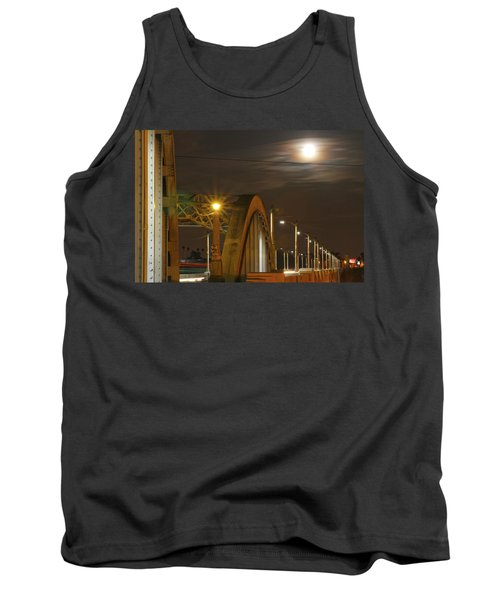 Night Shot Of The Los Angeles 6th Street Bridge And Supermoon #7 Tank Top