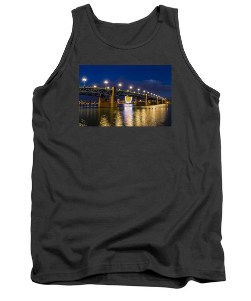 Tank Top featuring the photograph Night Shot Of The Pont Saint-pierre by Semmick Photo