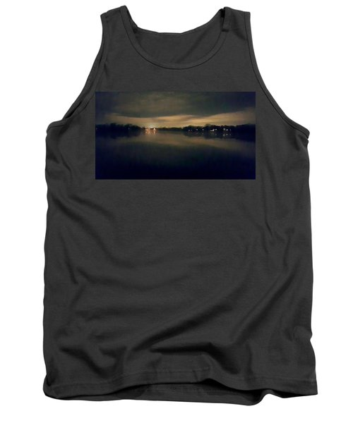Night Sky Over Lake With Clouds Tank Top