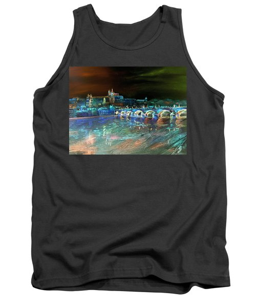 Tank Top featuring the mixed media Night Sky Over Prague by Elizabeth Lock