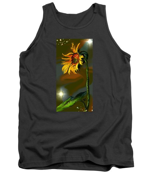 Tank Top featuring the digital art Night Sunflower by Darren Cannell