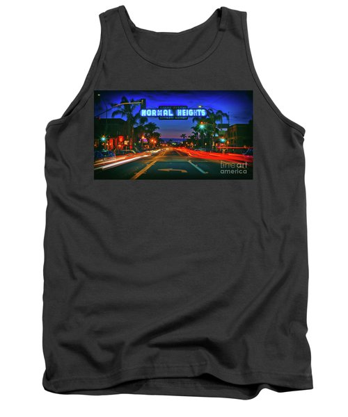 Nighttime Neon In Normal Heights, San Diego, California Tank Top