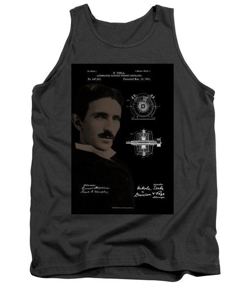 Nikola Tesla Patent Drawing Tank Top