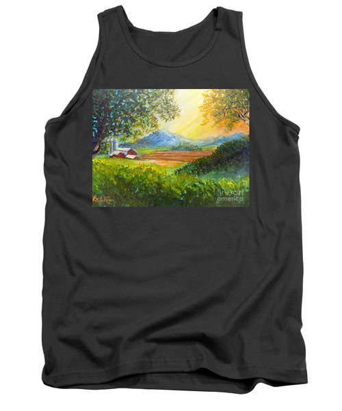 Tank Top featuring the painting Nixon's Majestic Farm View by Lee Nixon