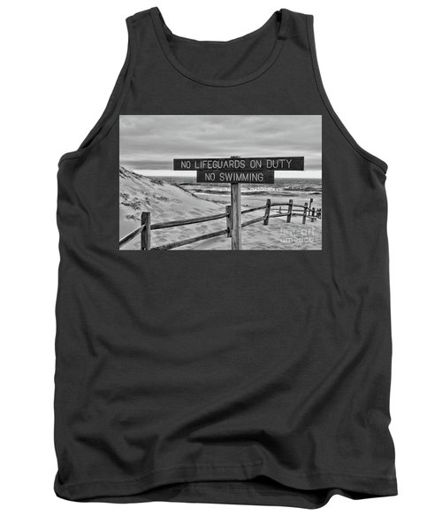 No Lifeguards On Duty Black And White Tank Top by Paul Ward