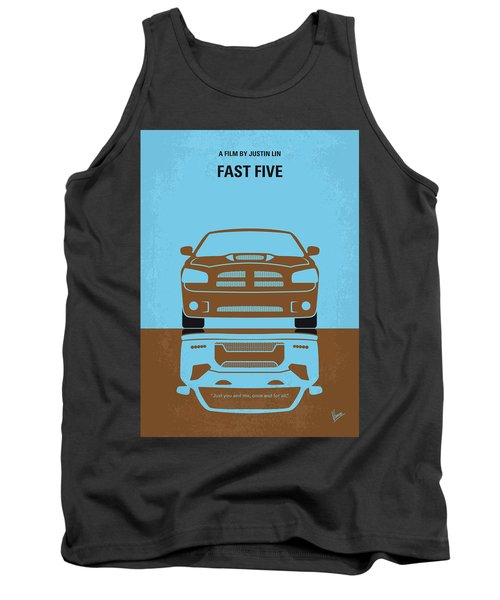 No207-5 My Fast Five Minimal Movie Poster Tank Top
