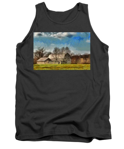 Tank Top featuring the mixed media Norman's Homestead by Trish Tritz