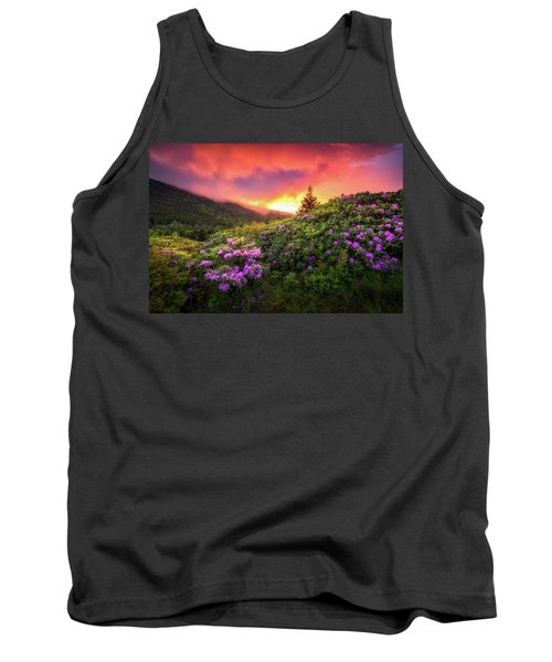 North Carolina Mountains Outdoors Landscape Appalachian Trail Spring Flowers Sunset Tank Top