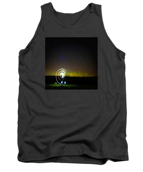 Northern Lights And Night Writing Tank Top